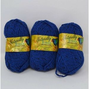 Naturally Tussock Yarn 3 Skeins Blue Chunky 14 Ply